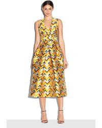 Milly | Chevron Brocade Elisa Pleated Dress | Lyst