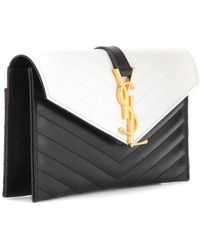 Saint Laurent Matelassé Leather Envelope Clutch - Lyst