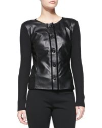 St. John Rib Knit Jacket with Soft Napa Leather - Lyst
