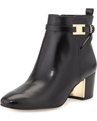Michael Kors Yves Leather Ankle Boot - Lyst