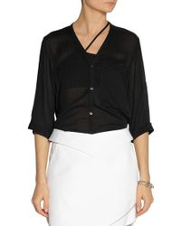 Helmut Lang Draped-back Voile Shirt - Lyst
