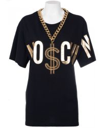 Moschino Cotton Oversize T-Shirt With Golden Chain - Lyst