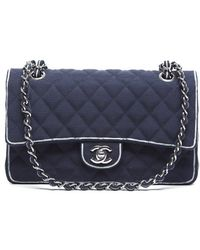 Chanel Pre-owned Navy Canvas White Edging Medium Timeless Classic Flap Bag - Lyst