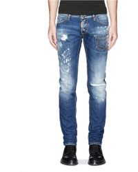 DSquared² Grommet Patch Pocket Distressed Jeans blue - Lyst