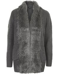 Topshop Faux Fur Trim Stitch Cardigan - Lyst