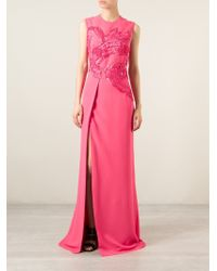 Elie Saab Cady Embroidered Dress pink - Lyst