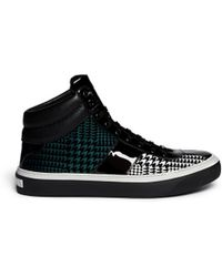 Jimmy Choo Patent Leather Velvet Houndstooth Sneakers - Lyst