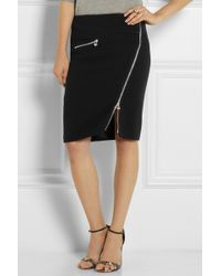 Versace Zipdetailed Stretchcrepe Pencil Skirt - Lyst