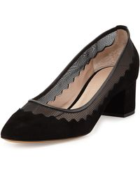 Chloé Bridget Scalloped Suede Tulle Pump - Lyst