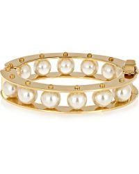 Lele Sadoughi - Stone Round Slider Gold-Plated Faux Pearl Bracelet - Lyst