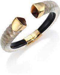 Alexis Bittar Lakana Lucite & Tiger'S Eye Crocodile-Textured Cuff Bracelet gold - Lyst