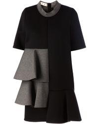 Marni Black Frill Dress - Lyst