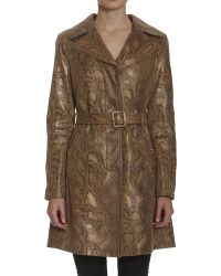 Members Only Metallic Faux Python Trench - Lyst