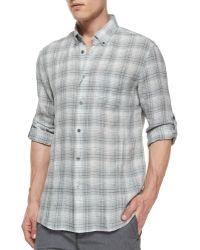 John Varvatos Plaid Roll-Tab Woven Linen Shirt - Lyst
