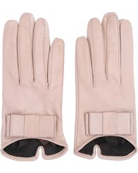 Mario Portolano Nappa Leather Gloves With Bow - Lyst