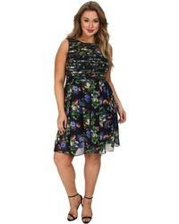 Adrianna Papell Plus Size Printed Strapping Fit & Flare - Lyst