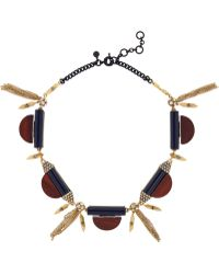 J.Crew | Gold-Tone, Wood And Crystal Necklace | Lyst