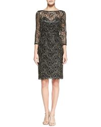 Theia 34-sleeve Overlay Lace Cocktail Dress Blackgold 2 - Lyst