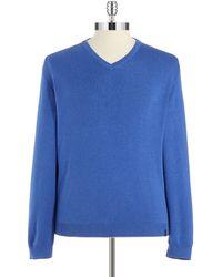Calvin Klein Blue V-Neck Sweater - Lyst