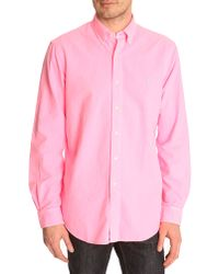 Polo Ralph Lauren Washed Electric Pink Slim Fit Oxford Shirt - Lyst