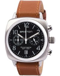 Briston - Clubmaster Classic Stainless Steel Hour Minute Seconds Watch With Calfskin Leather Strap - Lyst