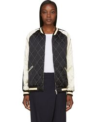 McQ by Alexander McQueen White and Black Silk Quilted Bomber - Lyst