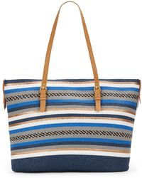 Saks Fifth Avenue - Mixed-Stripe Tote - Lyst