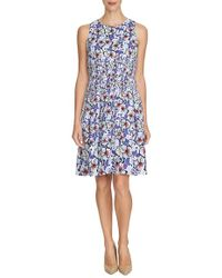 Cynthia Steffe | Pleated Floral Satin Fit & Flare Dress | Lyst