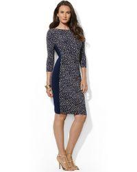 Lauren by Ralph Lauren Three Quarter Sleeved Jersey Dress - Lyst