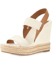 Tory Burch Ace Slingback Leather And Cork Wedge Platform
