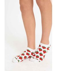 Urban Outfitters - Strawberry Socks In White - Lyst