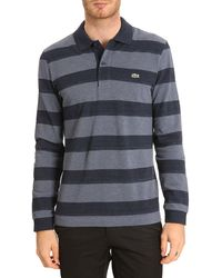Lacoste Ml Striped Blue Polo - Lyst
