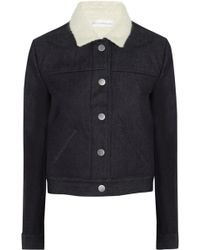 Victoria Beckham Denim and Boiled Woolblend Jacket - Lyst