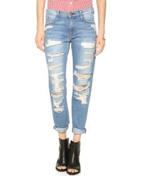 Current/Elliott The Rigid Fling Jeans Tattered Destroy - Lyst