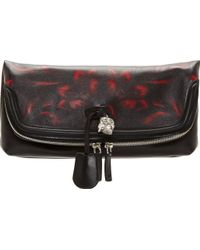 Alexander McQueen Black and Red Floral Leather Padlock Clutch - Lyst