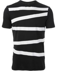 Neil Barrett Asymmetric Stripes Tshirt - Lyst