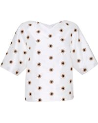 Osman Yousefzada Short Sleeve Top in White Circle Embroidery Tussa Silk - Lyst