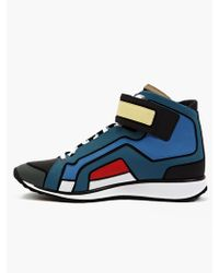 Pierre Hardy Mens Contrasting Matte Leather Hitop Sneakers - Lyst