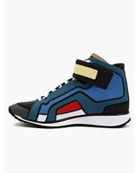 Pierre Hardy Men'S Contrasting Matte Leather Hi-Top Sneakers blue - Lyst