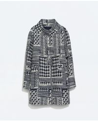 Zara Patterned Wool Coat - Lyst