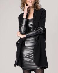 Maje Cardigan  Leather Sleeve - Lyst