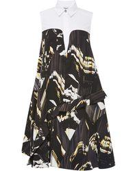 Kenzo Ruffled Trompe Loeil Printed Dress - Lyst