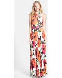 Eliza J Flower Print Chiffon Halter Dress - Lyst