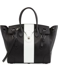 Ralph Lauren Soft Ricky 33 Medium Bicolor Satchel Bag Blackwhite - Lyst