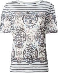 Tory Burch Striped Baroque Print T-Shirt - Lyst