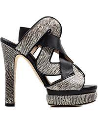 Chrissie Morris Audrey Black/White Sandal silver - Lyst