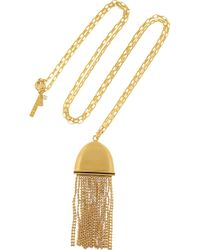 Lele Sadoughi - Flat Tassel Gold-Plated Necklace - Lyst