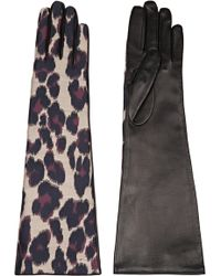Lanvin - Leopard-print Twill And Leather Gloves - Lyst