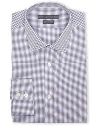 John Varvatos Blue & Grey Slim Fit Plaid Dress Shirt - Lyst