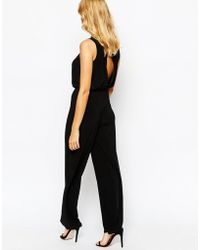 Love - Wide Leg Jumpsuit With Deep Plunge And Scarf Detail - Lyst
